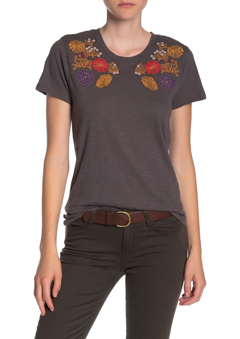 Lucky Brand Floral Embroidered Yoke Crew Neck T-Shirt