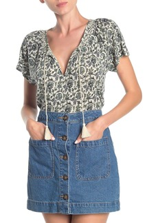 Lucky Brand Floral Print Embroidered Yoke Peasant Top