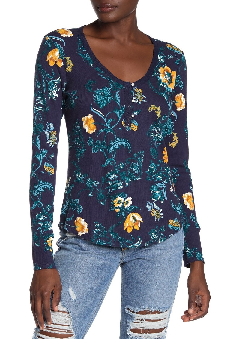 Lucky Brand Floral Print Long Sleeve Henley