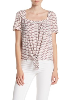 Lucky Brand Print Tie Front Top
