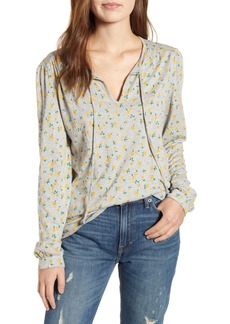 Lucky Brand Floral Split Neck Blouse
