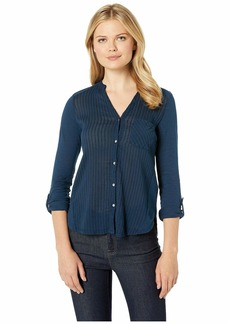Lucky Brand Gauze Mix Henley Top
