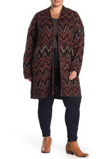 Lucky Brand Geo Chevron Open Front Long Cardigan (Plus Size)