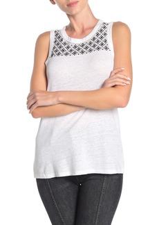 Lucky Brand Geo Embroidered Yoke Linen Blend Tank Top