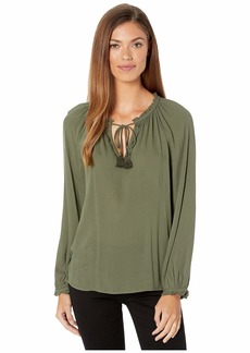 Lucky Brand Giselle Ruffle Peasant Top