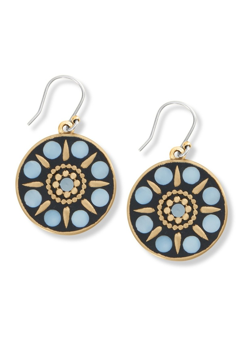 Lucky Brand Hammered Mother of Pearl Inlay Round Drop Earrings
