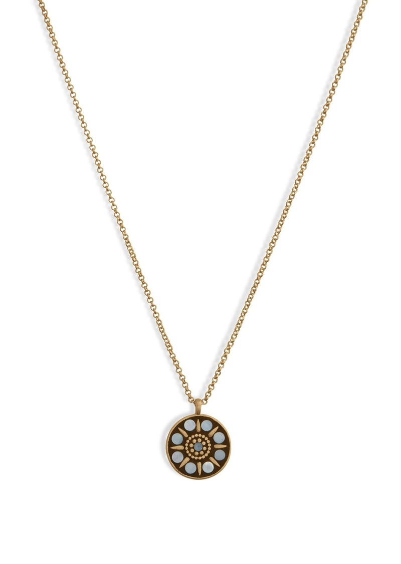 Lucky Brand Hammered Mother of Pearl Inlay Round Pendant Necklace