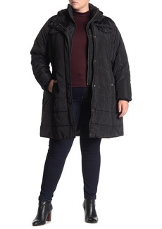 Lucky Brand Hooded Insert Zip Front Puffer Jacket (Plus Size)