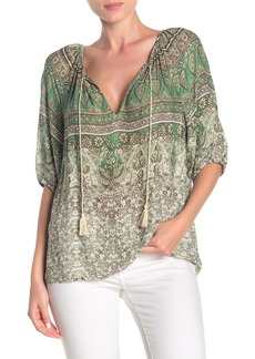 Lucky Brand Kelly Print Peasant Top