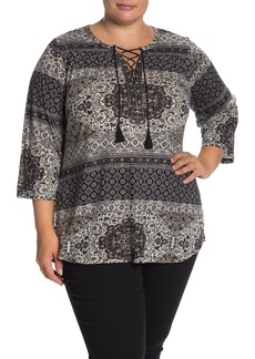 Lucky Brand Lace-Up 3/4 Sleeve Top (Plus Size)