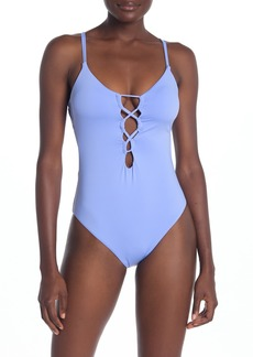 Lucky Brand Lace-Up Open Back One-Piece Swimsuit