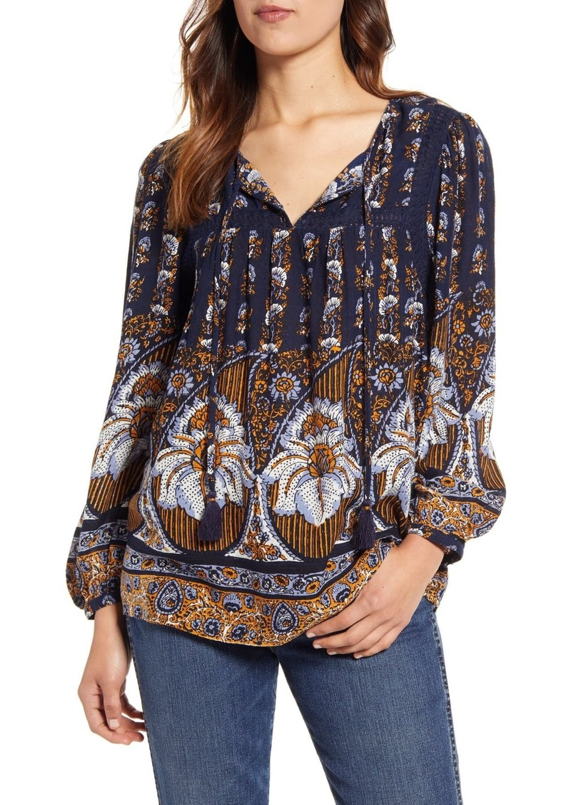 Lucky Brand Laura Floral Print Lace Peasant Blouse