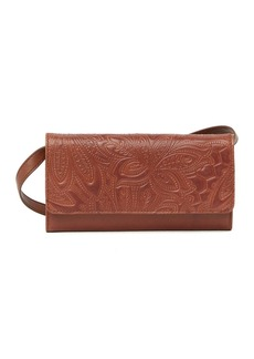 Lucky Brand Lina Embossed Leather Crossbody Wallet