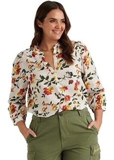 Lucky Brand Long Sleeve Button-Up One-Pocket Floral Megan Popover Top