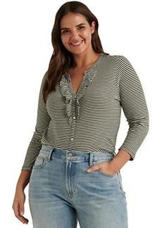 Lucky Brand Long Sleeve Button-Up Striped Ruffle Henley Top