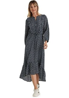 Lucky Brand Long Sleeve Button-Up Tie Waist Ruffle Dawn Maxi Dress