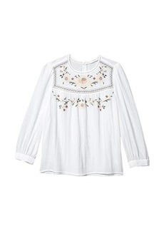 Lucky Brand Long Sleeve Crew Neck Embroidered Yoke Top