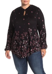 Lucky Brand Long Sleeve Keyhole Floral Print Top (Plus Size)