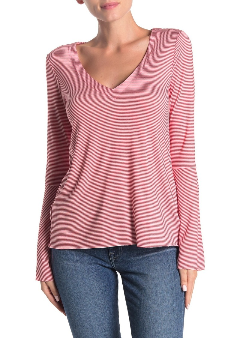 Lucky Brand Long Sleeve Stripe Print Top