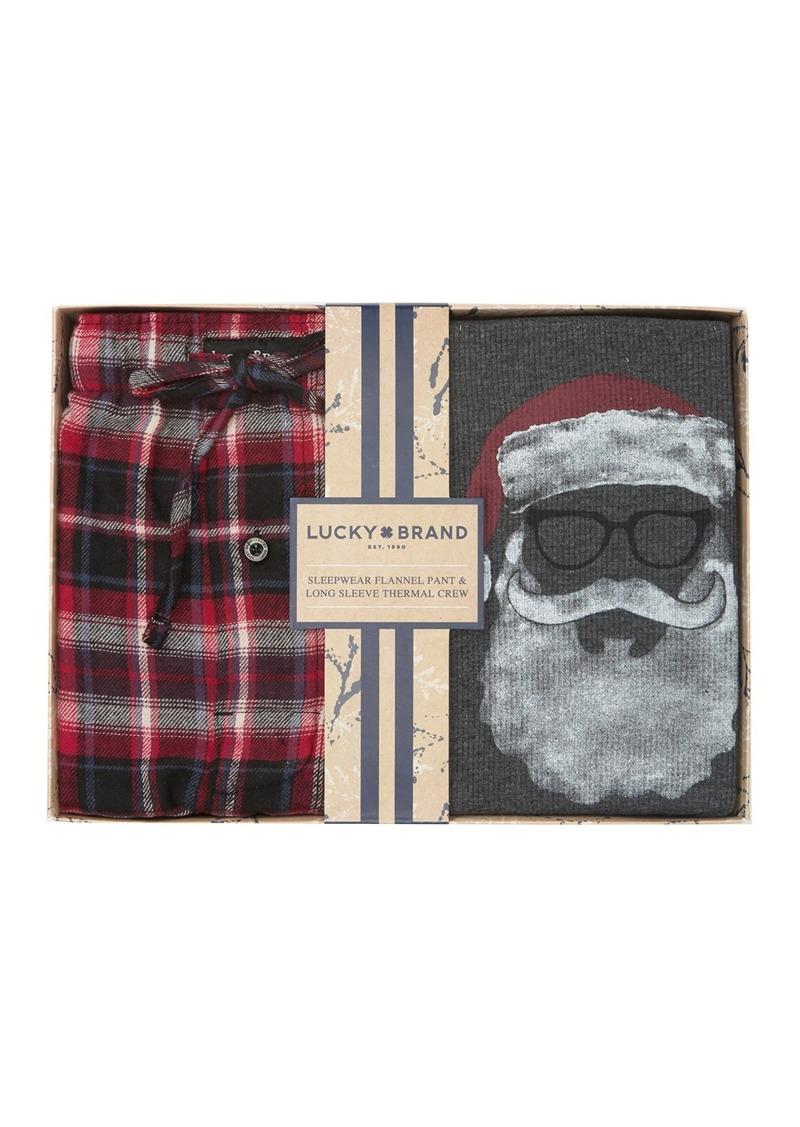 Lucky Brand Long Sleeve Thermal & Plaid Pajama Set