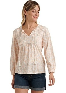 Lucky Brand Long Sleeve V-Neck Printed Peasant Top