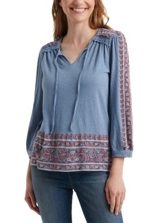 Lucky Brand 3/4-Sleeve Cotton Peasant Top