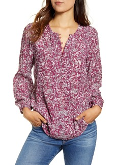 Lucky Brand Aida Pintuck Peasant Top