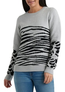 Lucky Brand Animal Printed Crewneck Sweater