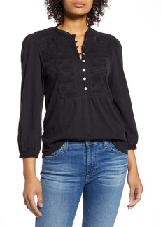 Lucky Brand Appliqué Bib Cotton Henley Top
