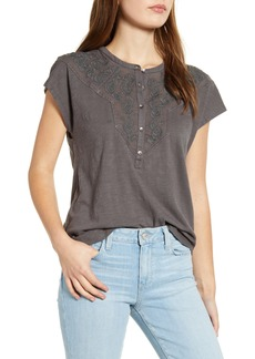 Lucky Brand Appliqué Yoke Henley Top