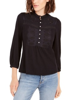 Lucky Brand Applique Bib Henley Top