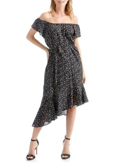 Lucky Brand Asymmetrical Ditsy Cold-Shoulder Dress