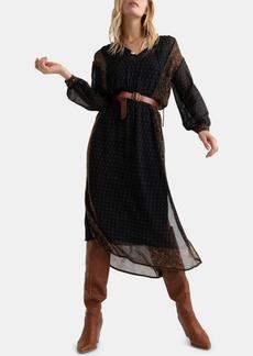 Lucky Brand Border-Print Maxi Dress