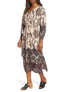 Lucky Brand Border Print Midi Dress