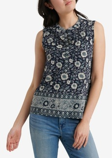 Lucky Brand Border-Print Pintucked Henley Top