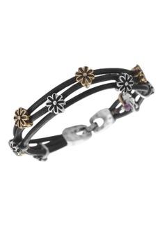 Lucky Brand Bracelet, Two Tone Flower Woven Leather Bracelet