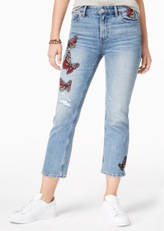 Lucky Brand Bridgette Embroidered Cropped Straight-Leg Jeans