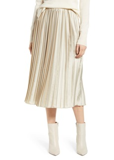 Lucky Brand Brooklyn Pleated Satin Skirt