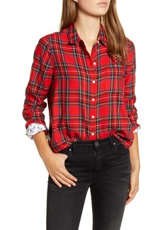 Lucky Brand Buffalo Check Contrast Button-Up Shirt
