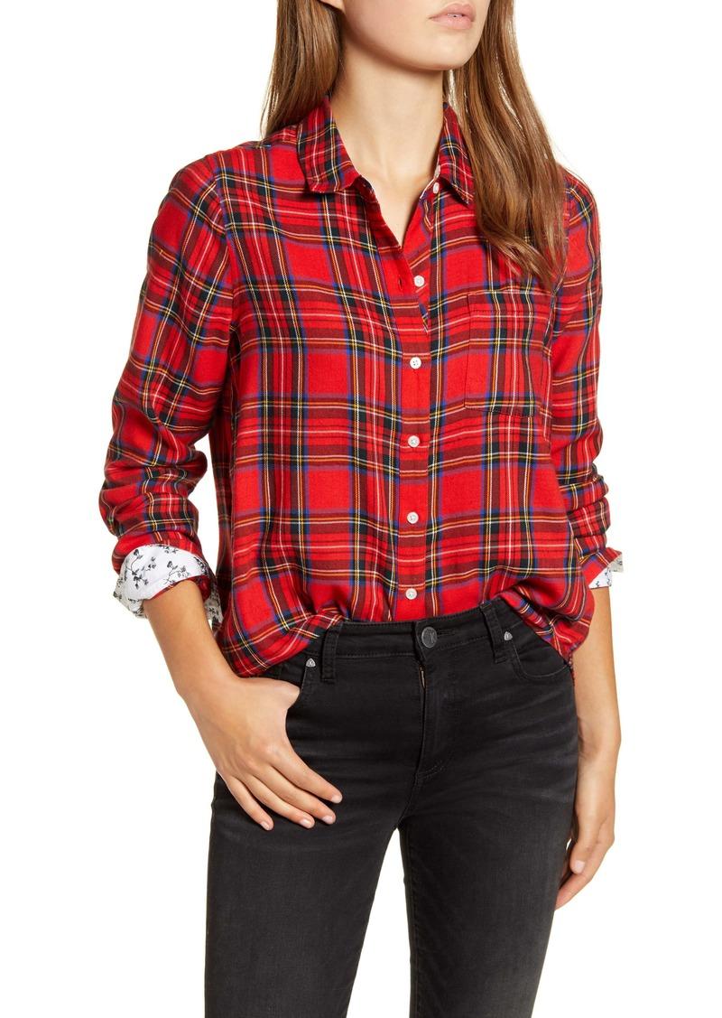 Lucky Brand Buffalo Check Contrast Button-Up Shirt