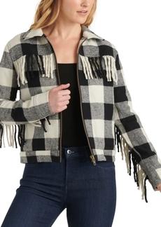 Lucky Brand Buffalo-Plaid Fringe Jacket