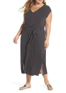 Lucky Brand Button Sleeve Maxi Dress (Plus Size)