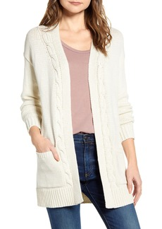 Lucky Brand Cable Accent Cotton Blend Cardigan