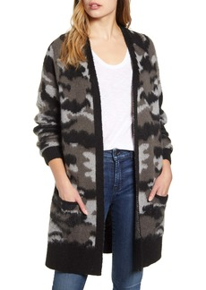 Lucky Brand Camo Open Front Long Cardigan