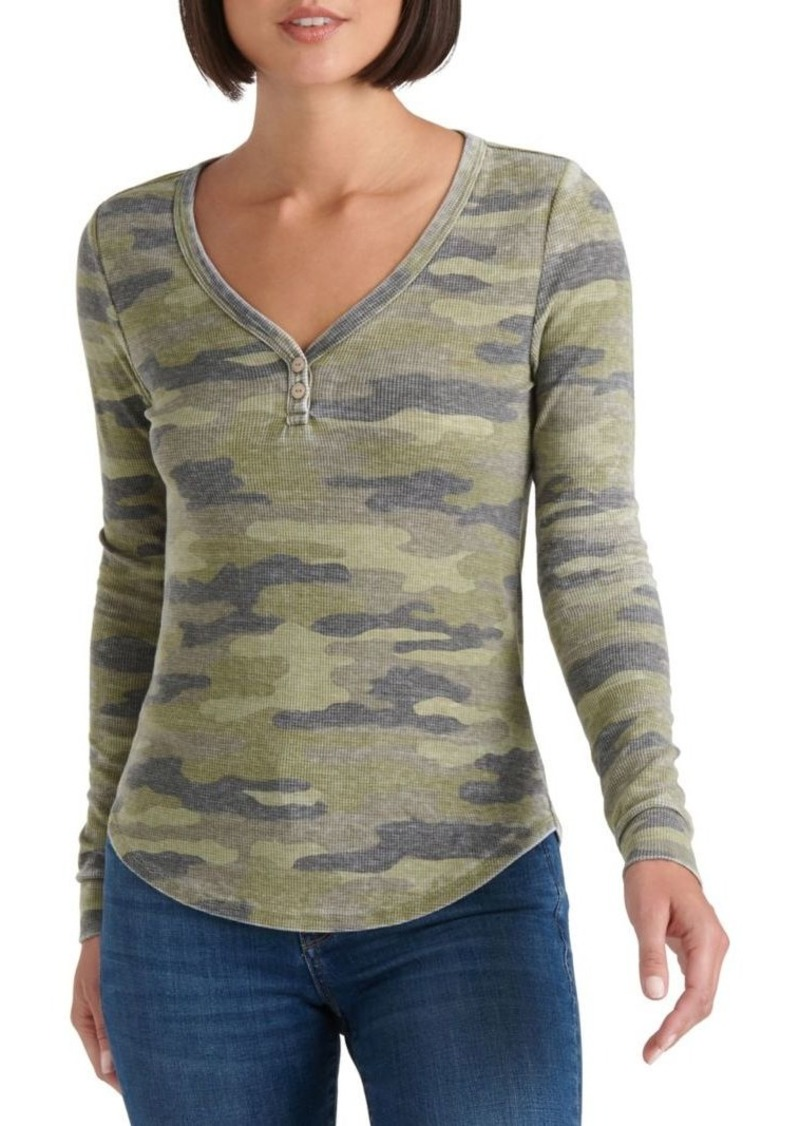 Lucky Brand Camo Printed Thermal Top