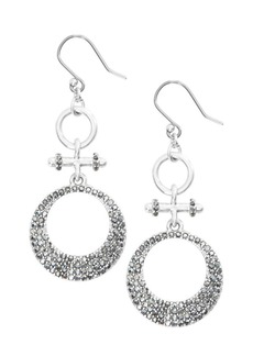 Lucky Brand Celestial Simplicity Silvertone & Front-Facing Pavé Crystal Double Hoop Earrings
