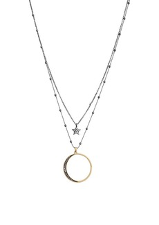 Lucky Brand Celestial Simplicity Two-Tone & Crystal Layered Necklace