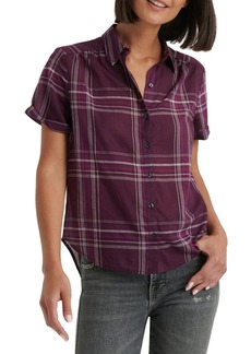 Lucky Brand Checkered Button Front Short Sleeve Shirt