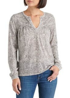 Lucky Brand Cheetah-Print Split Neck Cotton Top