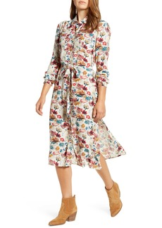 Lucky Brand Chelsea Foral Utility Crepe Shirtdress